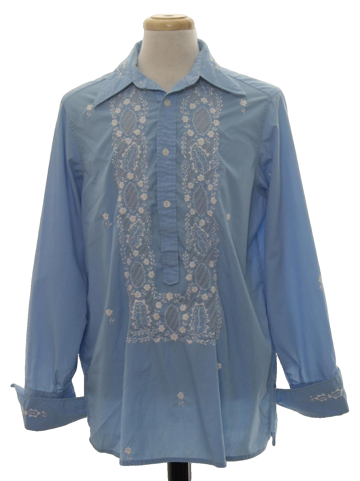 Retro seventies hippie shirt 70s tesoros mens light sky for Can you wear cufflinks on a regular shirt