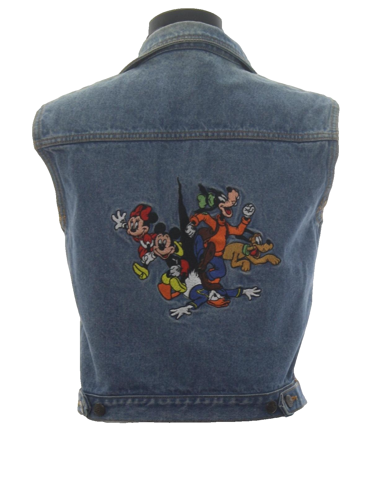 Retro 80s Vest Mickey Inc Womens Blue Background Cotton Long Hem Denim Sleeveless Metal Button Front Totally Disney With Small Fold Over