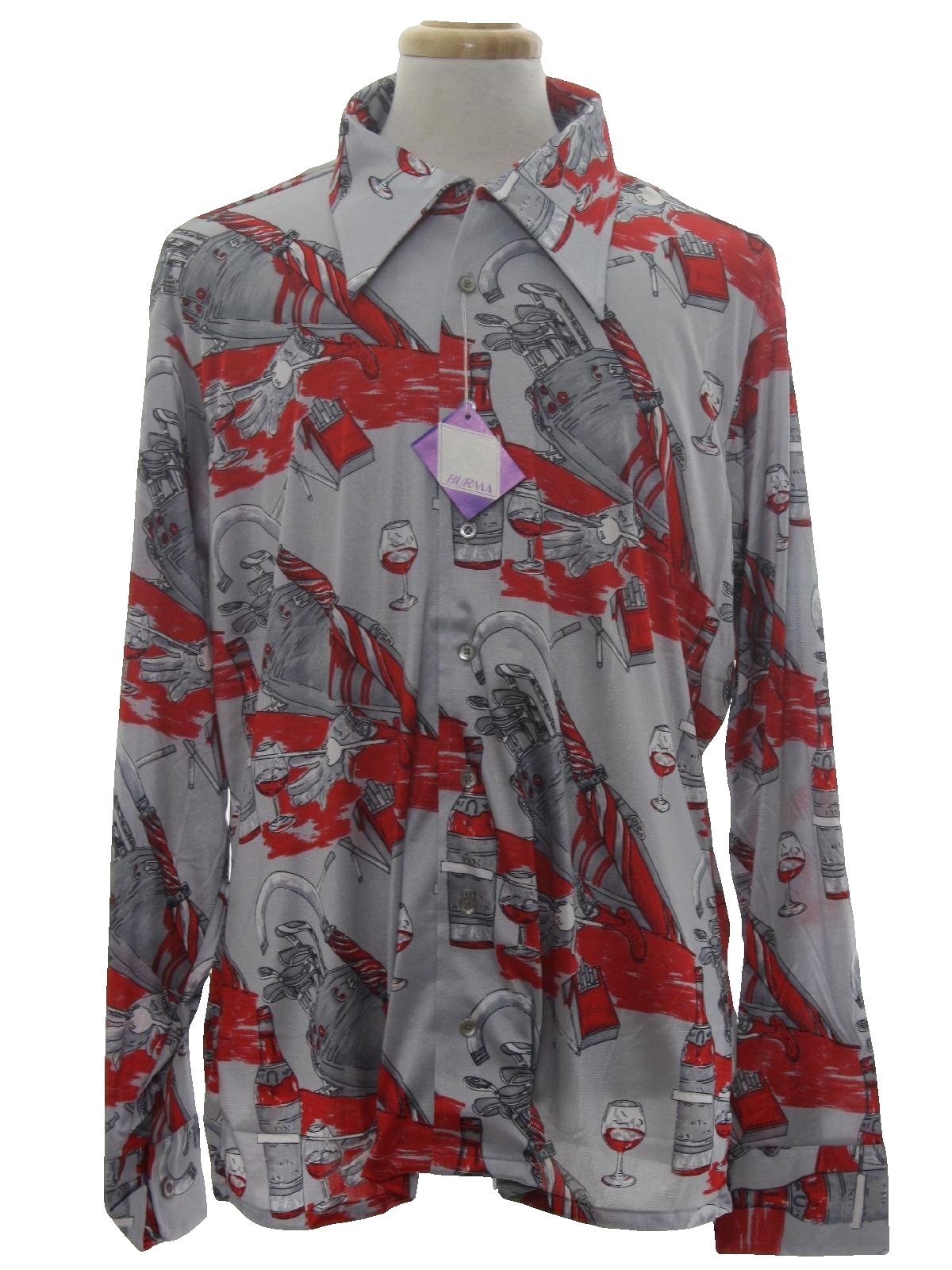 1970's Oleg Cassini by Burma, designer Mens Designer Shiny Nylon Art Print  Disco Shirt