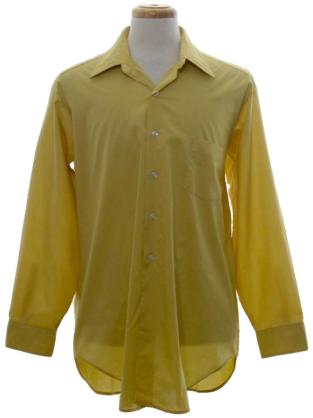 1970 39 s shirt sears 70s sears mens harvesst gold for Solid color button up shirts