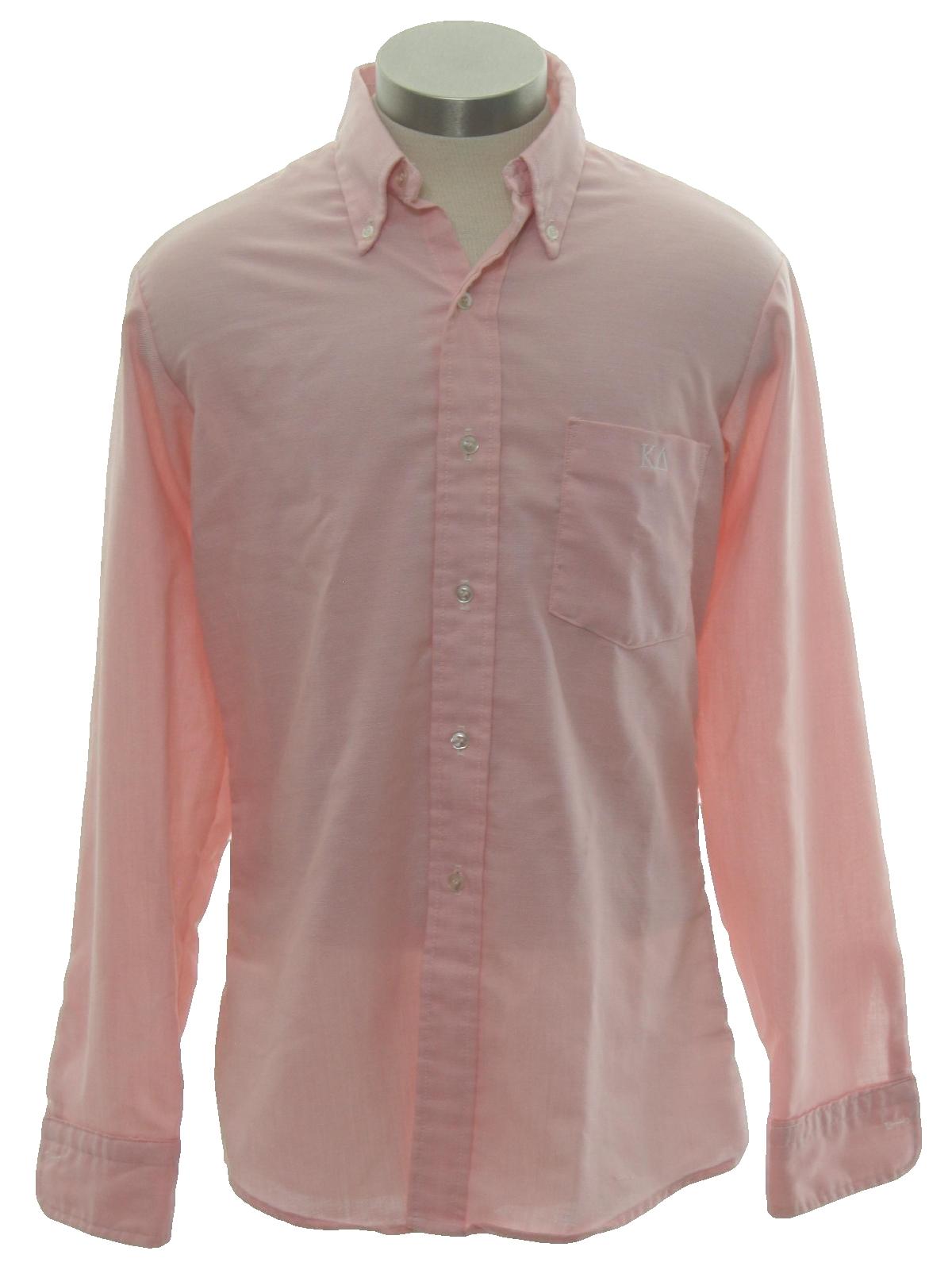 80 39 s vintage shirt 80s mcgregor mens soft pink for Solid color button up shirts