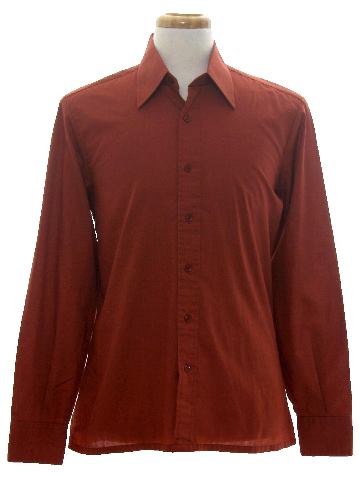 Retro 1970s shirt 70s geno mens dark rust background for Button up collared sport shirts