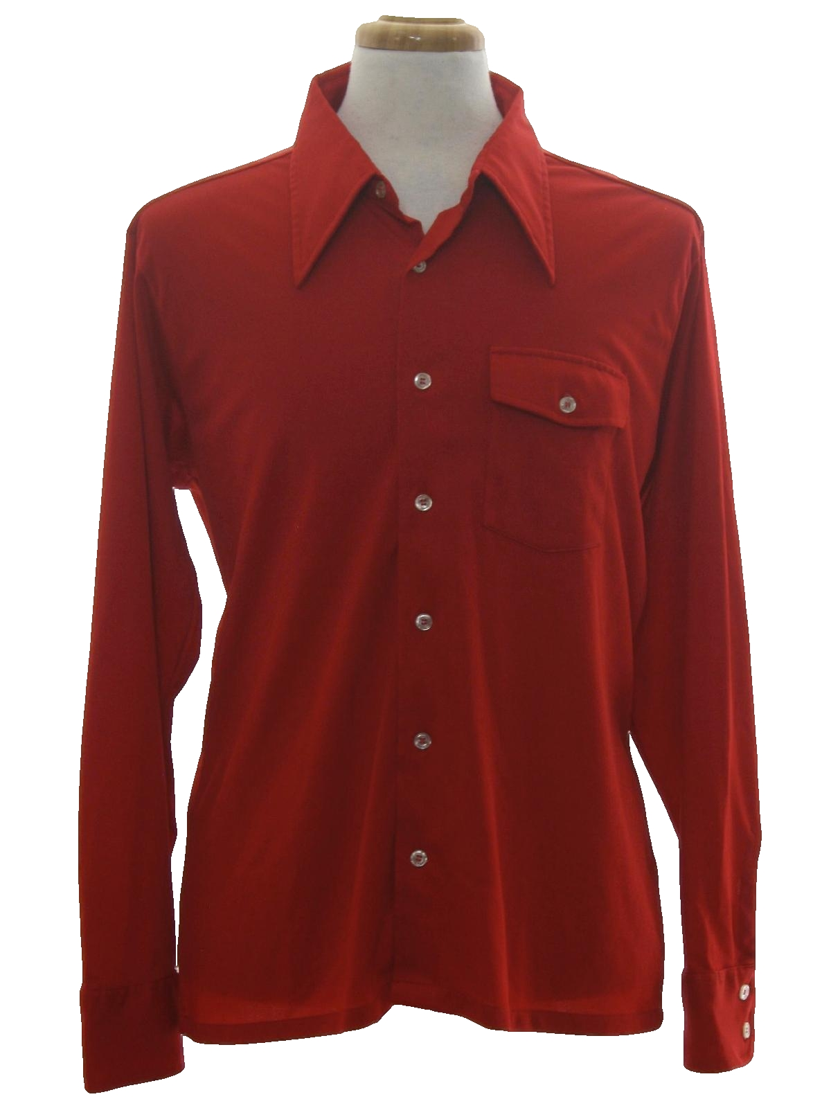 Donegal 70 39 s vintage disco shirt 70s donegal mens red for Solid color button up shirts
