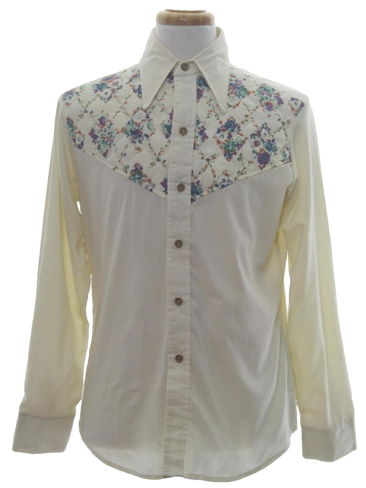 1970 39 s retro western shirt 70s alfie mens ivory for Solid color button up shirts
