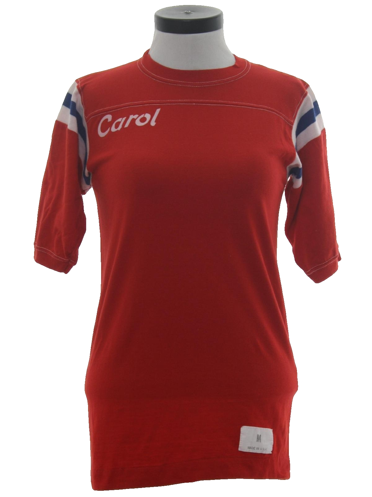 1970 39 s retro t shirt 70s sportswear womens red for Poly blend t shirts wholesale