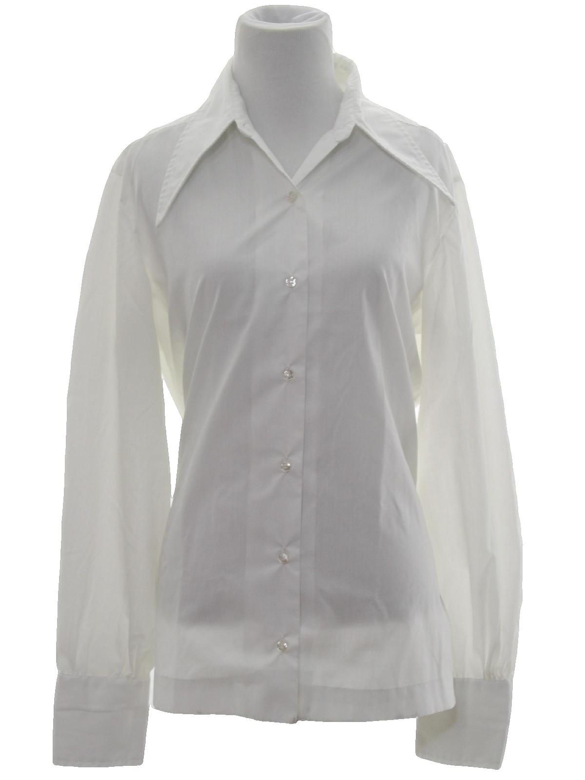 Retro 70s shirt dearborn 70s dearborn womens white for Solid color button up shirts