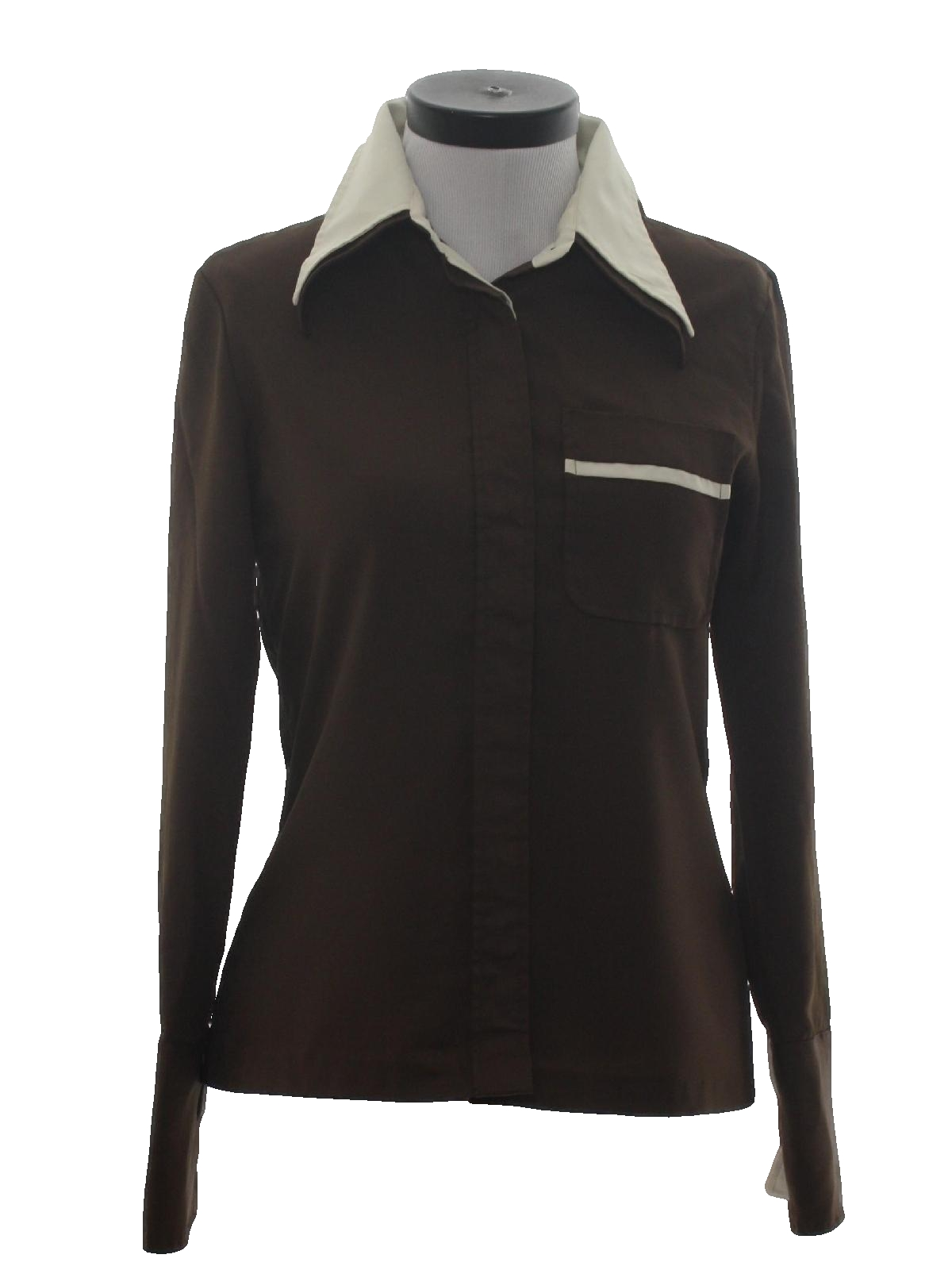 Vintage 70s shirt 70s joanna womens dark brown for Solid color button up shirts
