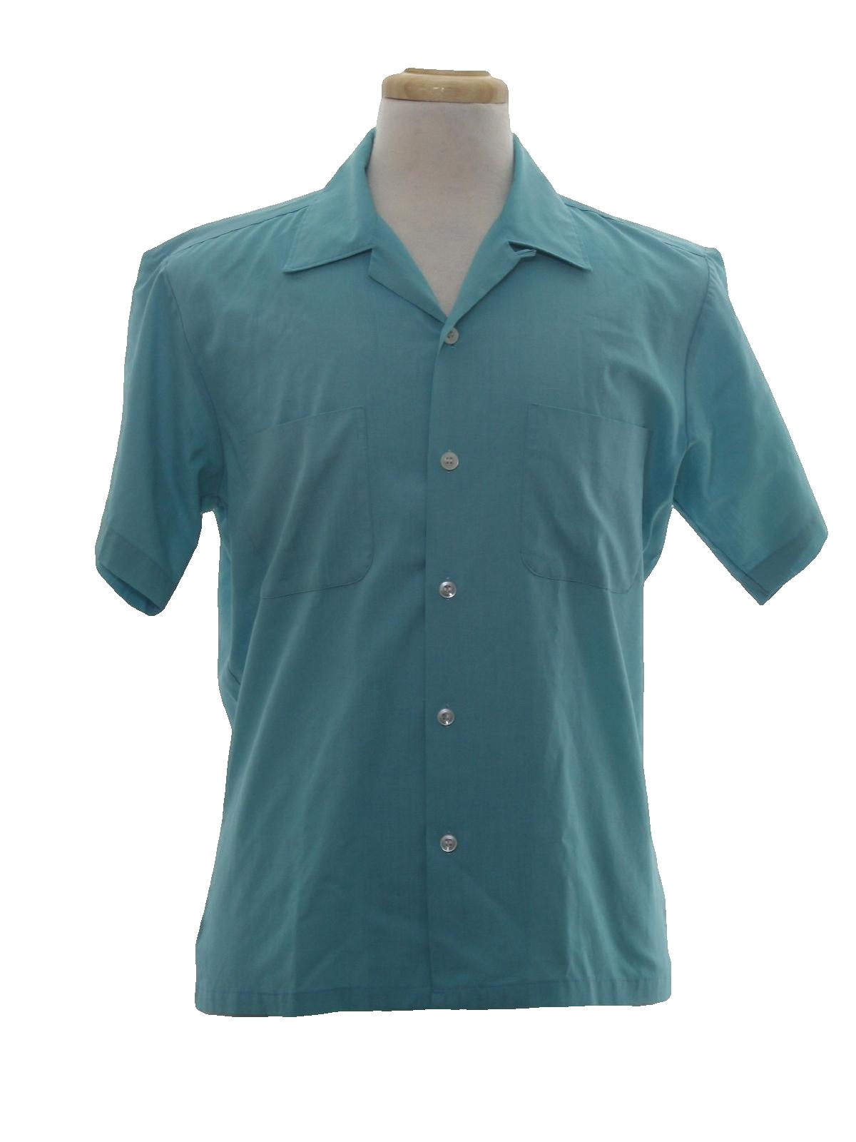 Retro 60s shirt sears 60s sears mens turquoise for Button up collared sport shirts