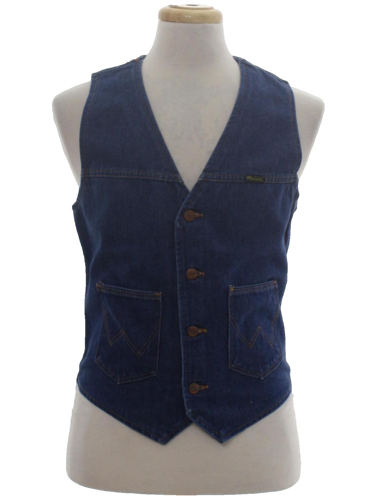 e5d0d441 Retro Seventies Vest: Late 70s or Early 80s -Wrangler- Mens dark ...