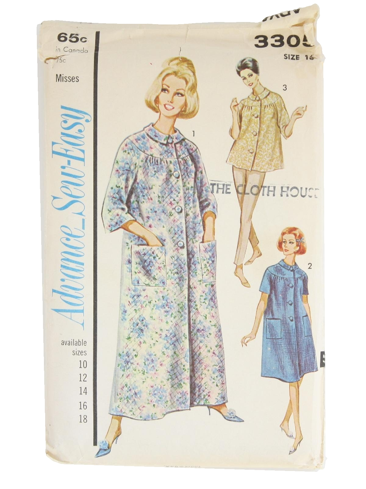 Retro 1960\'s Sewing Pattern (Advance Pattern No. 3305) : 60s ...