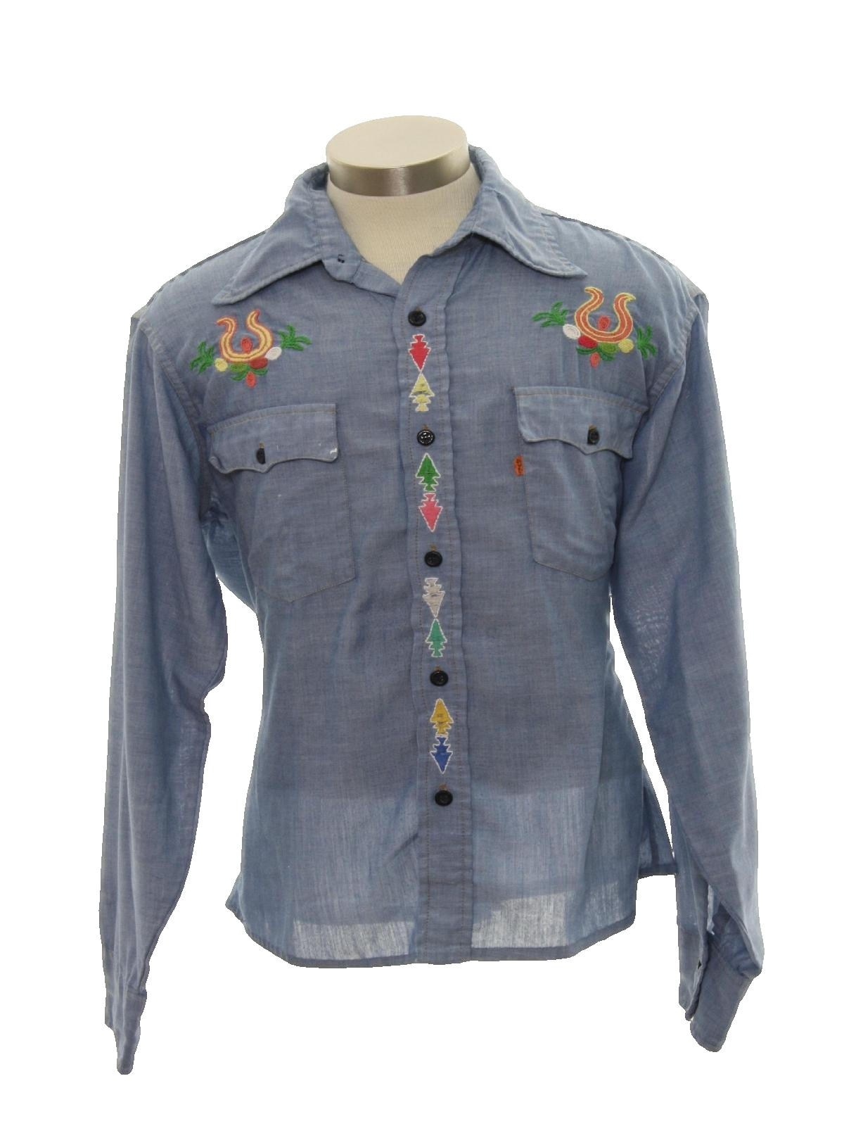 1970 39 S Retro Hippie Shirt 70s Levis Mens Chambray Blue