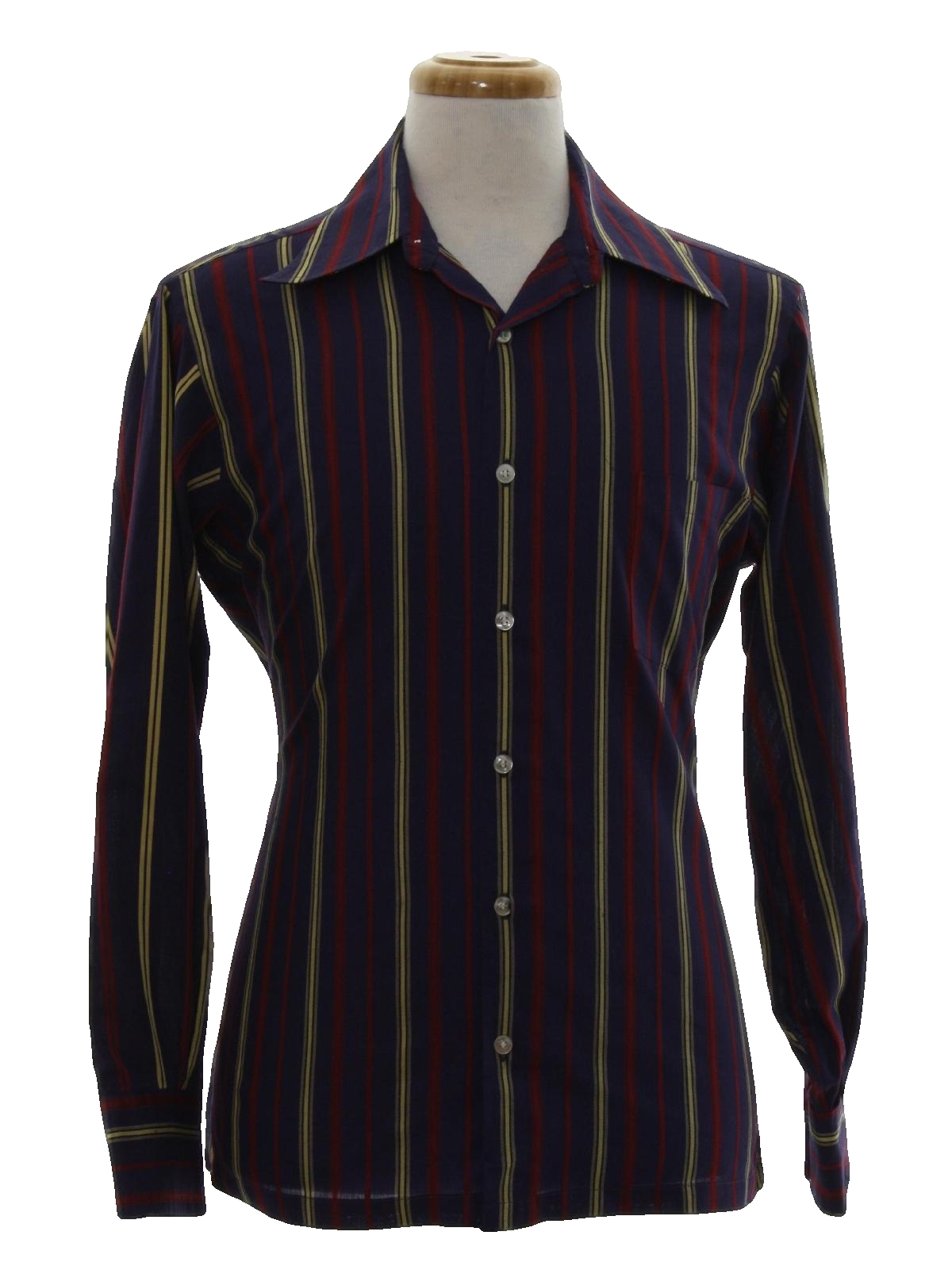 excello men 60s -excello- mens grey and pink cotton rayon blend short sleeve bowling shirt with angled pink collar, pink stripe across the chest.