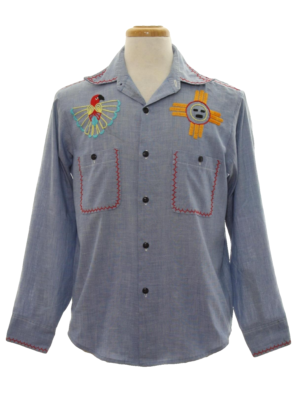 Vintage 1970 39 S Hippie Shirt 70s No Label Mens Chambray