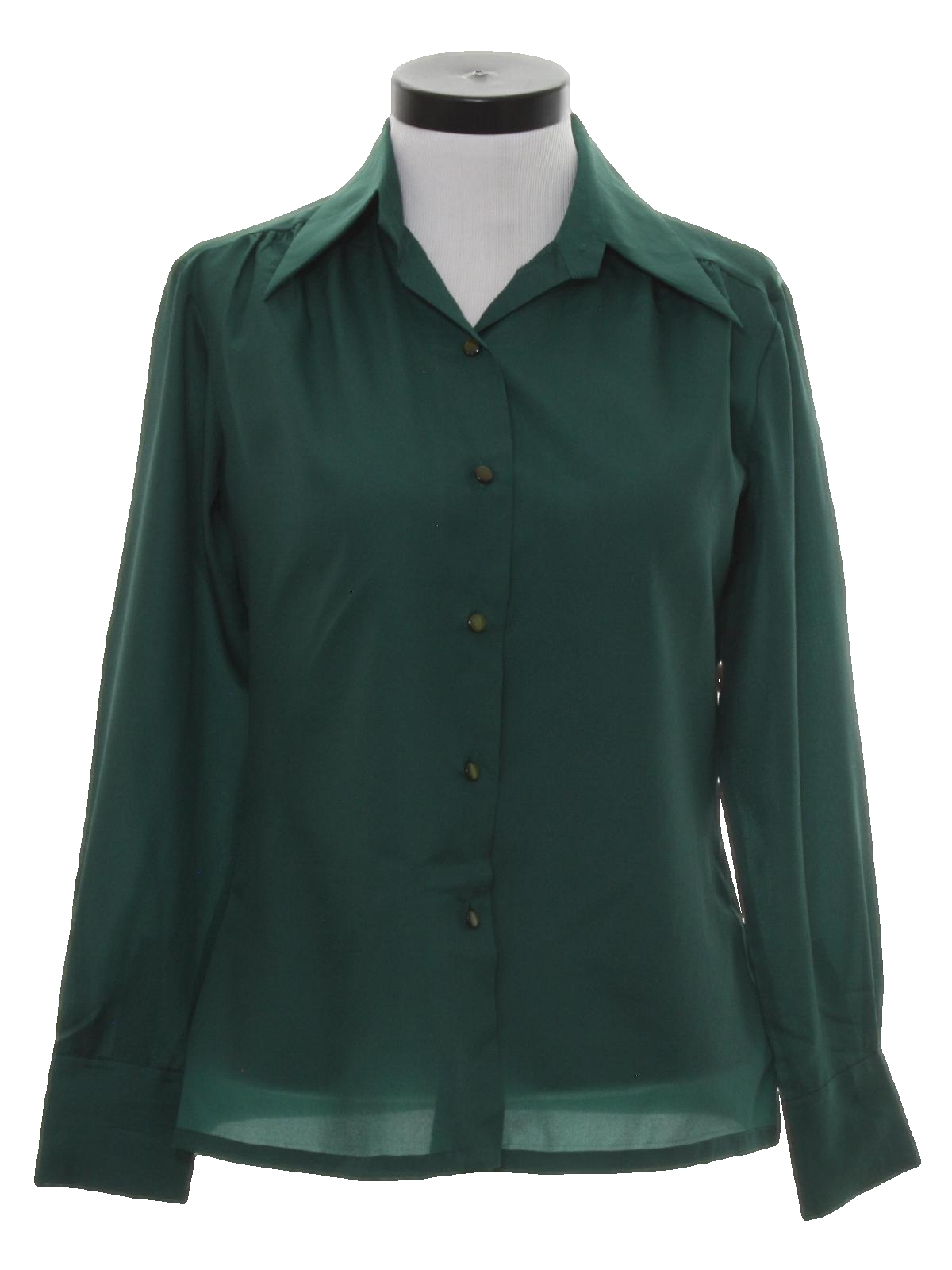 Retro 70s shirt k 70s k mart womens hunter green for Solid color button up shirts