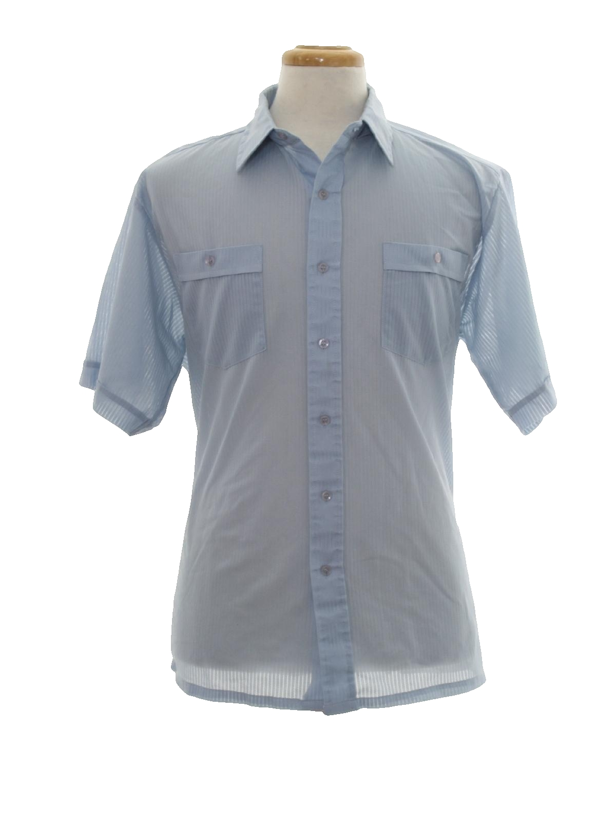 Eighties shirt 80s no label mens light blue background for Button up collared sport shirts