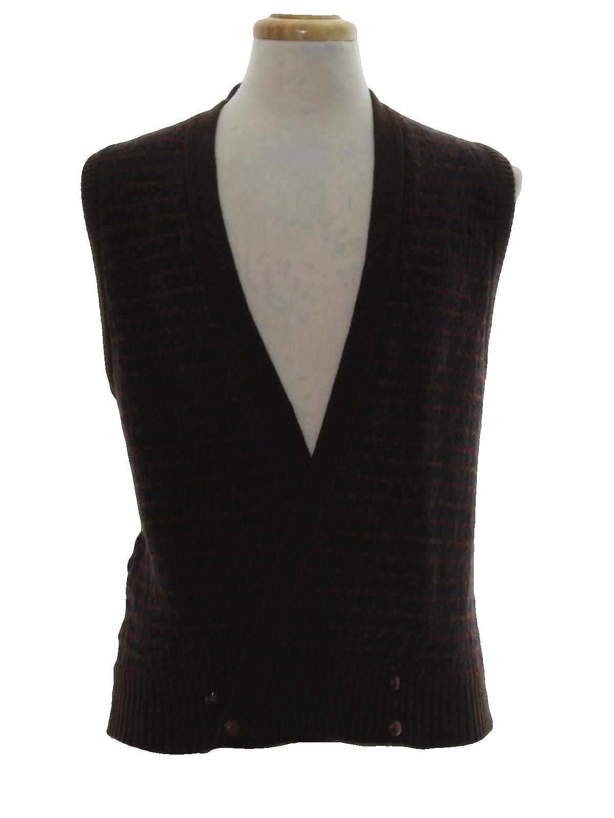80s Retro Sweater: 80s -Tricots St Raphael- Mens dark mocha brown ...