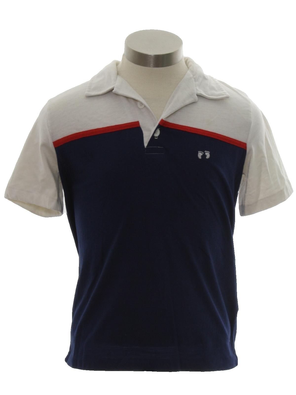 37c3ec48 Retro 80's Shirt: 80s -Hang Ten- Mens/Boys white and navy blue ...