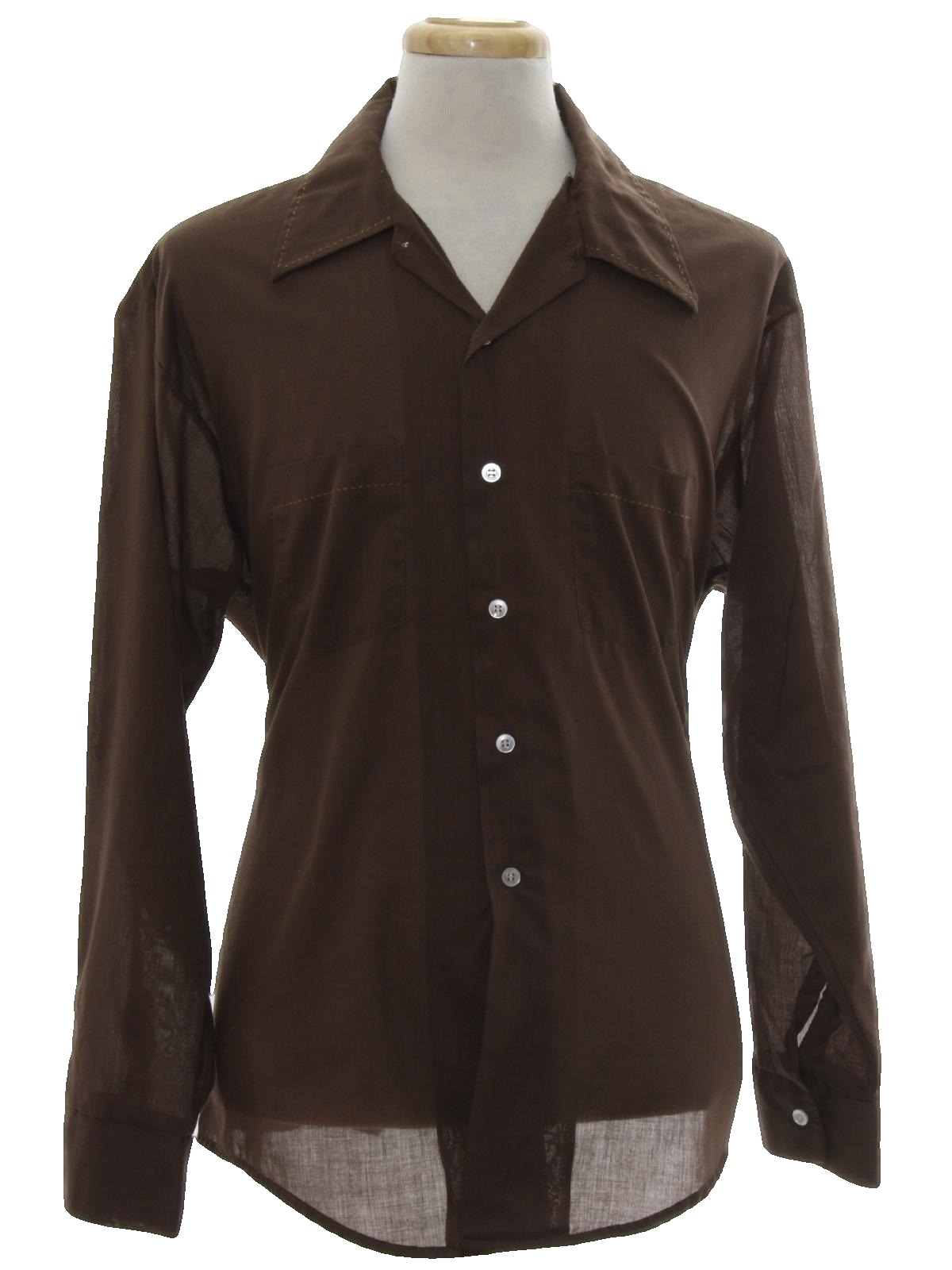 70s shirt 70s no label mens chocolate brown background for Solid color button up shirts