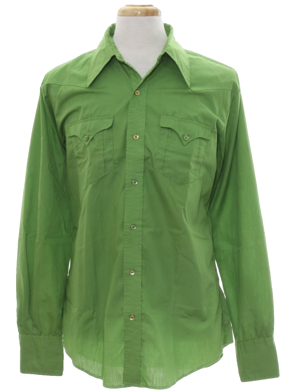 Retro 70s western shirt 70s no label mens lime green for Solid color button up shirts
