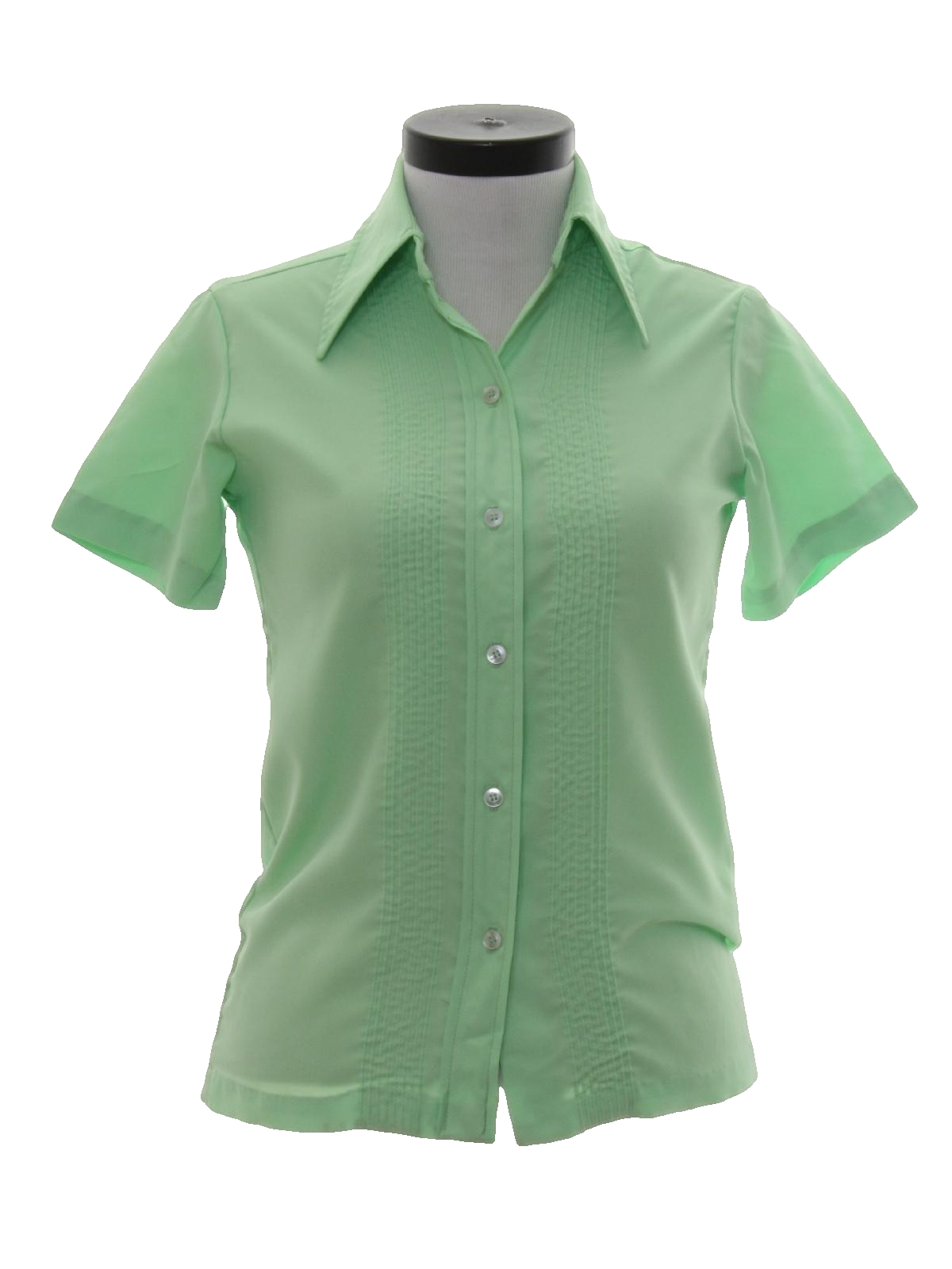 Retro 70s shirt 70s no label womens mint green for Solid color button up shirts