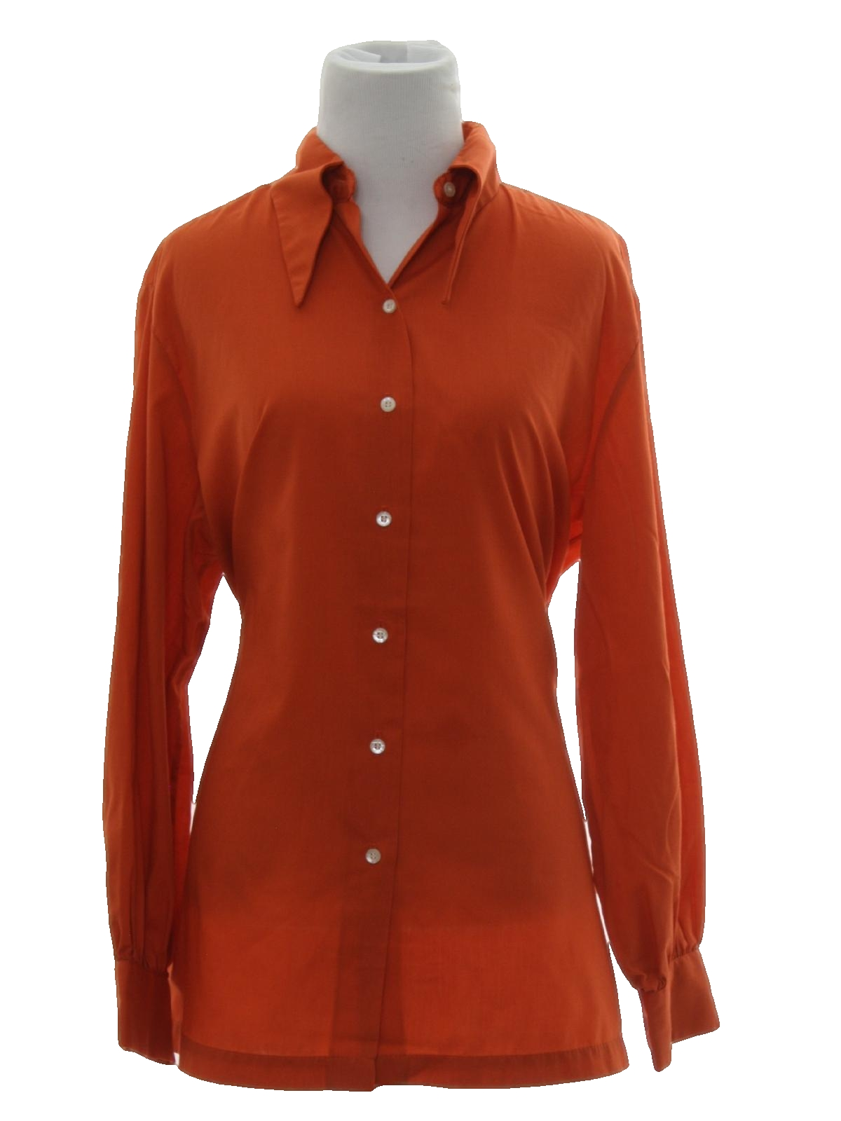 70s hippie shirt sears 70s sears womens rust for Solid color button up shirts