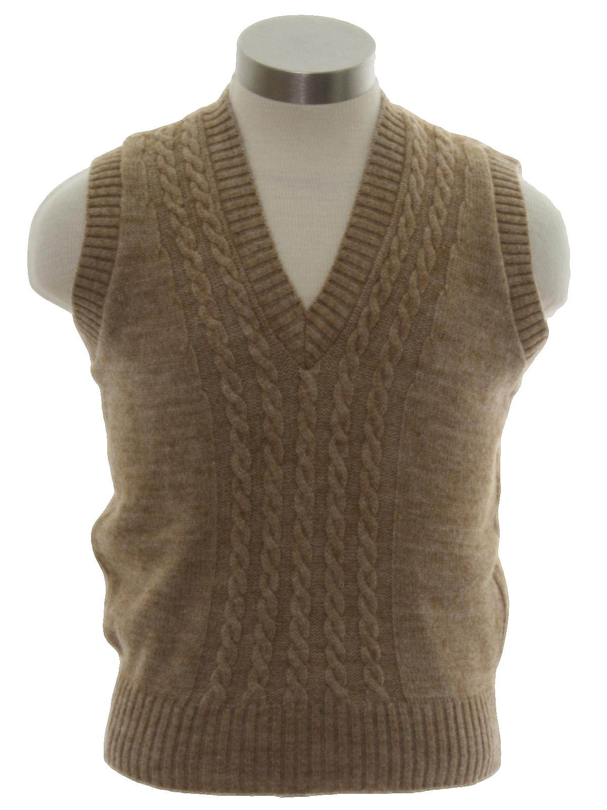 Vintage 80s Sweater 80s Its Pure Gould Mens Heathered Tan Cable