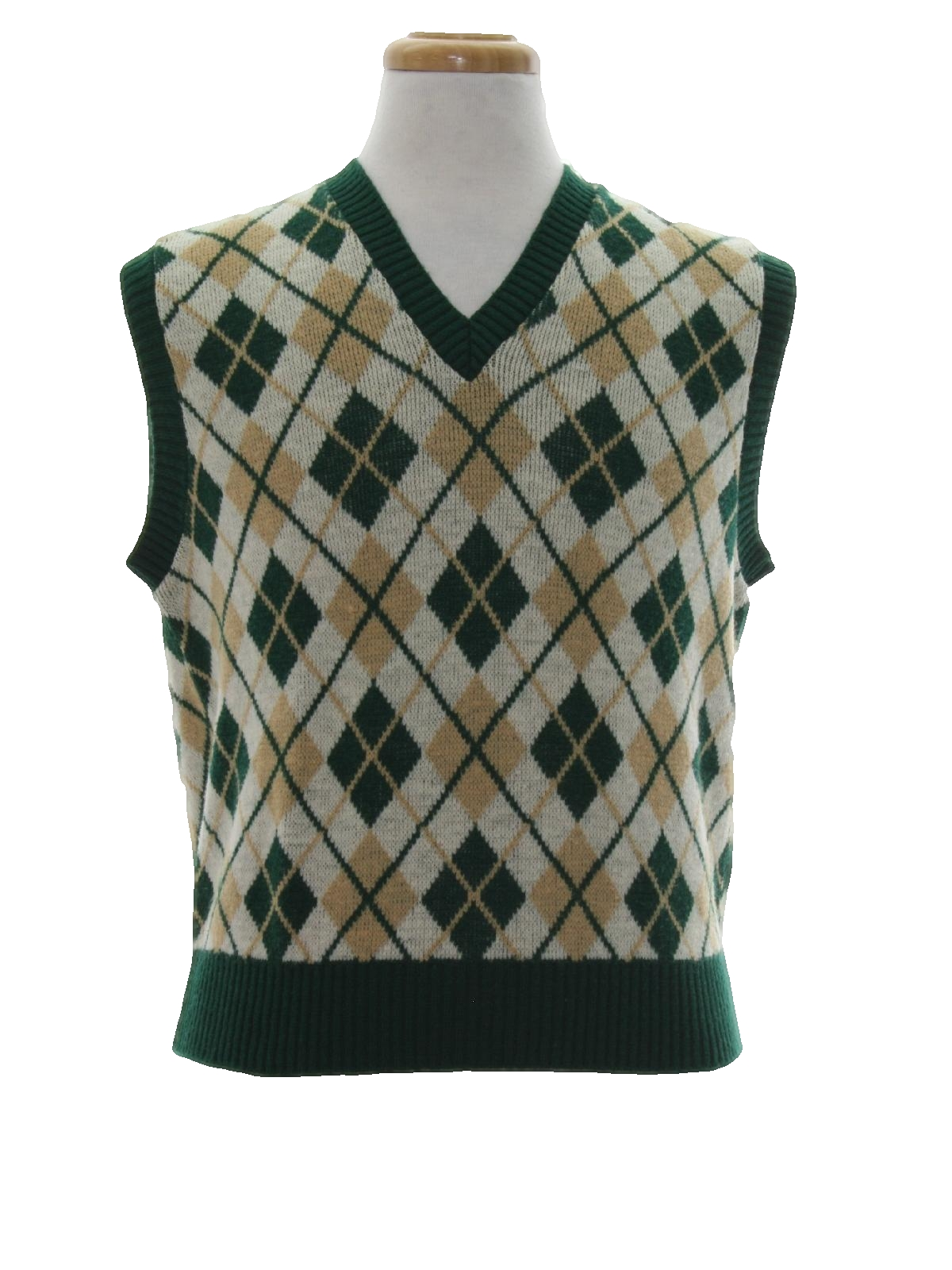 60s Sweater (Mr. G): 60s -Mr. G- Mens dark green, tan and winter ...