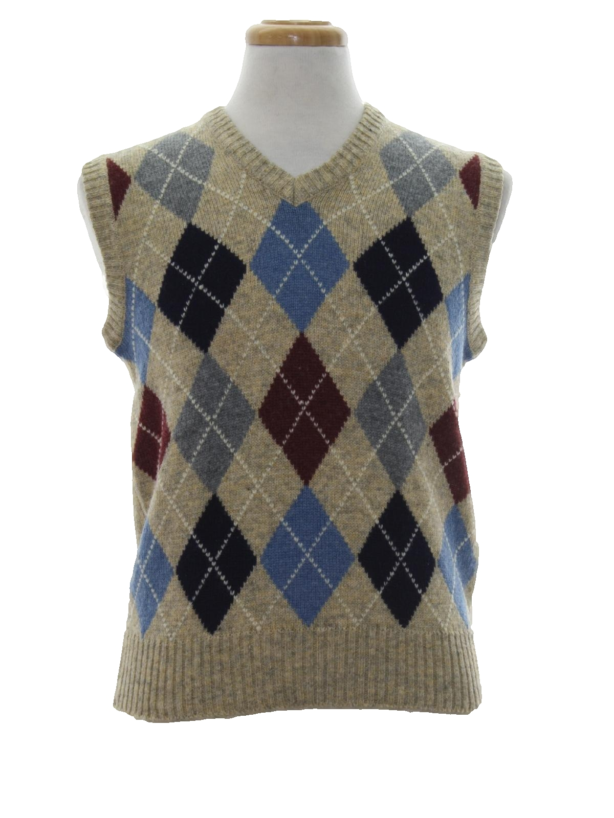 Retro 80's Sweater: 80s -Claybrooke- Mens heathered tan with sky ...