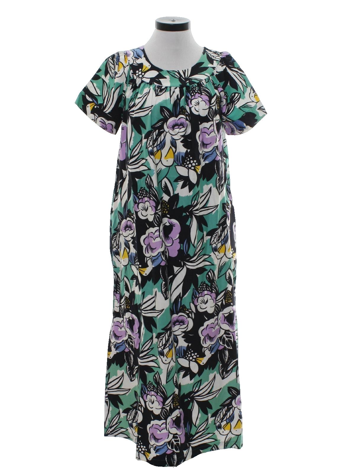 f11acdcad07 Retro 60 s Hawaiian Dress  Late 60s -Sears- Womens sea foam green ...