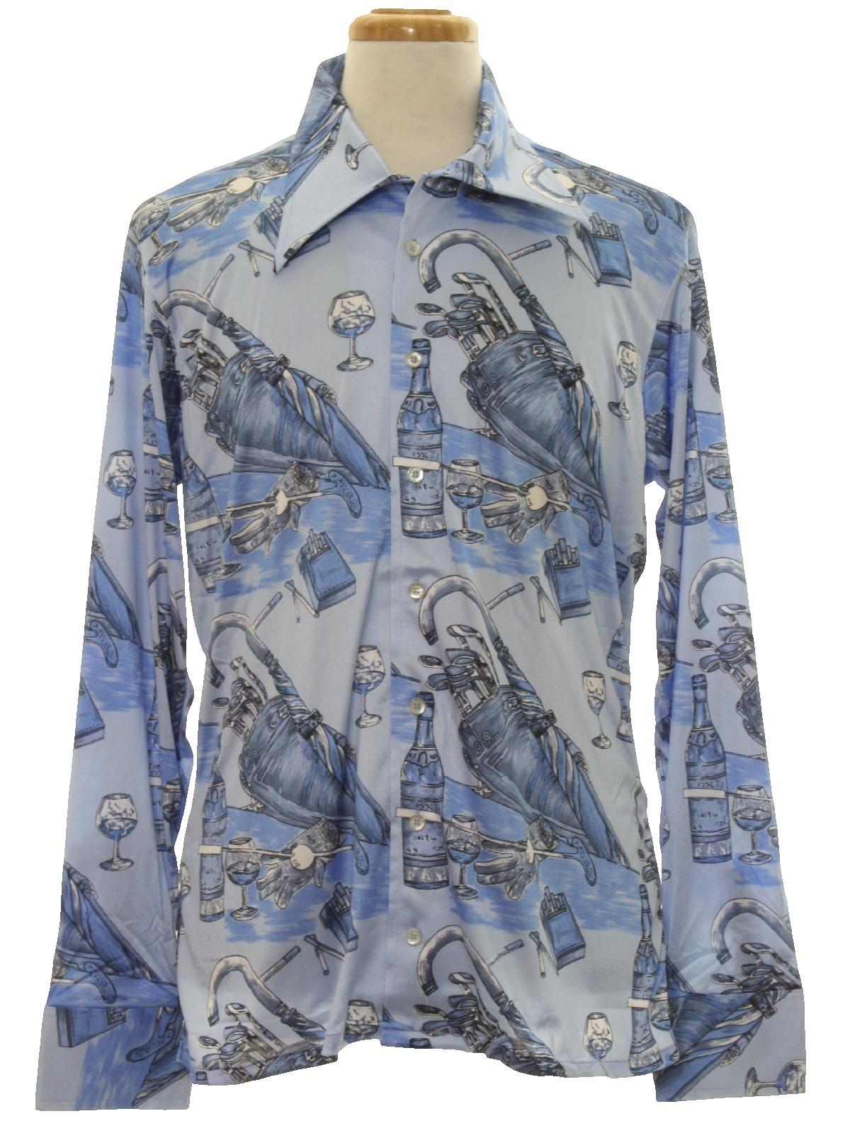 1970s Oleg Cassini By Burma Designer Print Disco Shirt