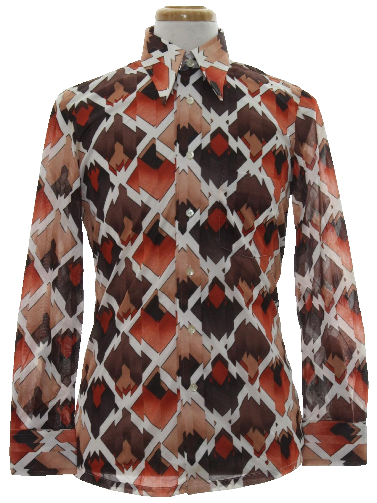 70s Print Disco Shirt Oleg Cassini By Burma Designer