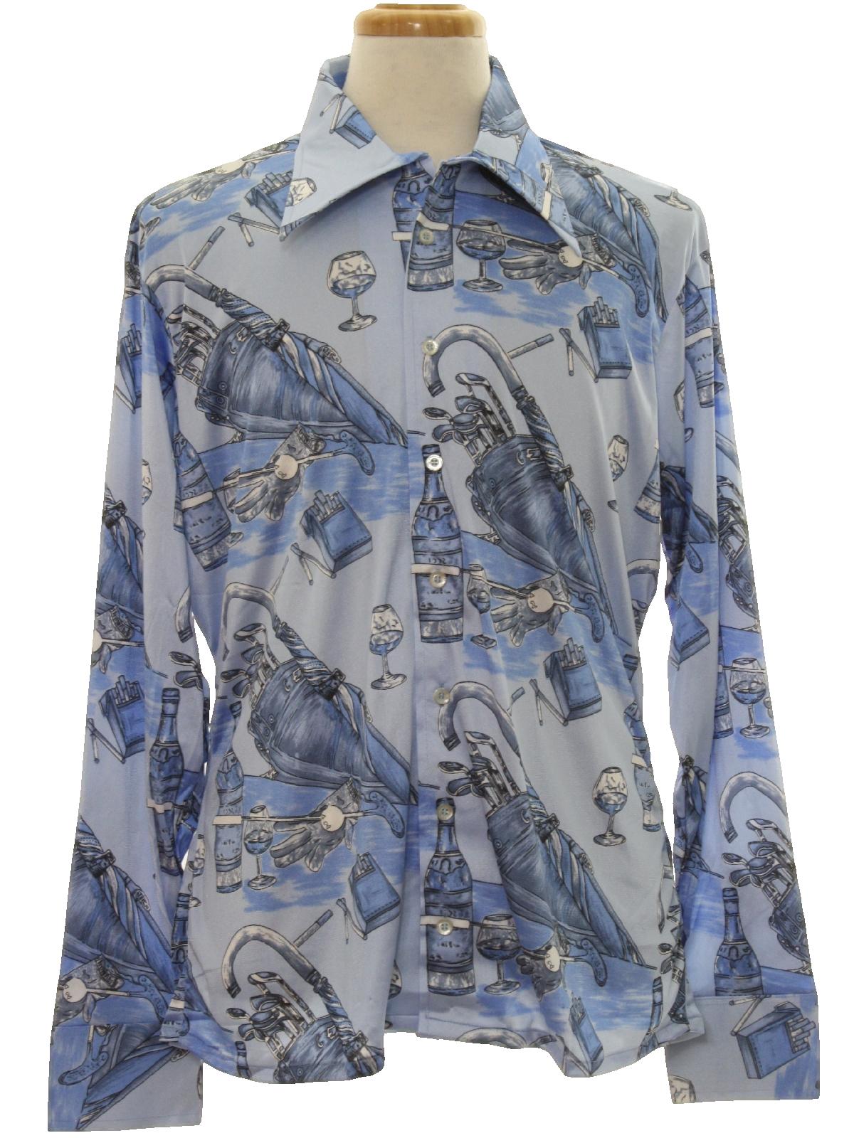Vintage 1970s Print Disco Shirt 70s Oleg Cassini By