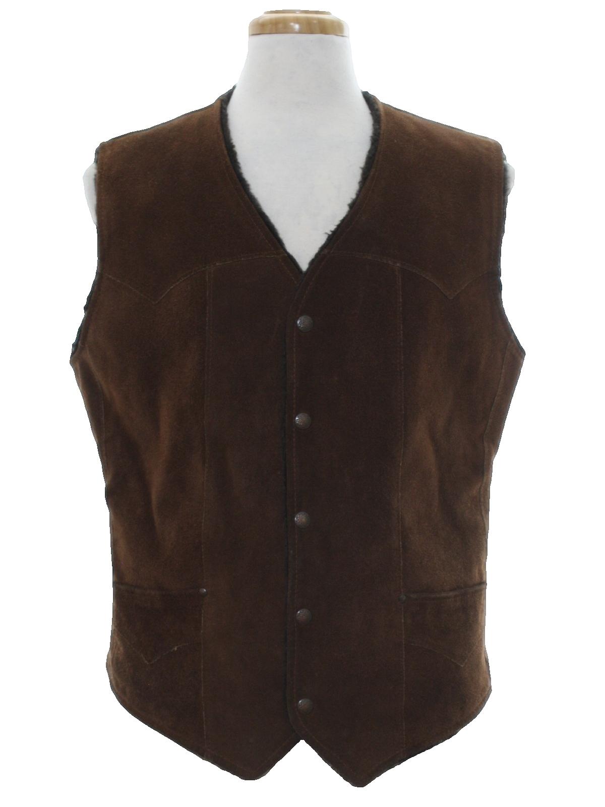 dab6089fb2e Retro Seventies Vest  70s -Pioneer Wear- Mens dark brown suede ...