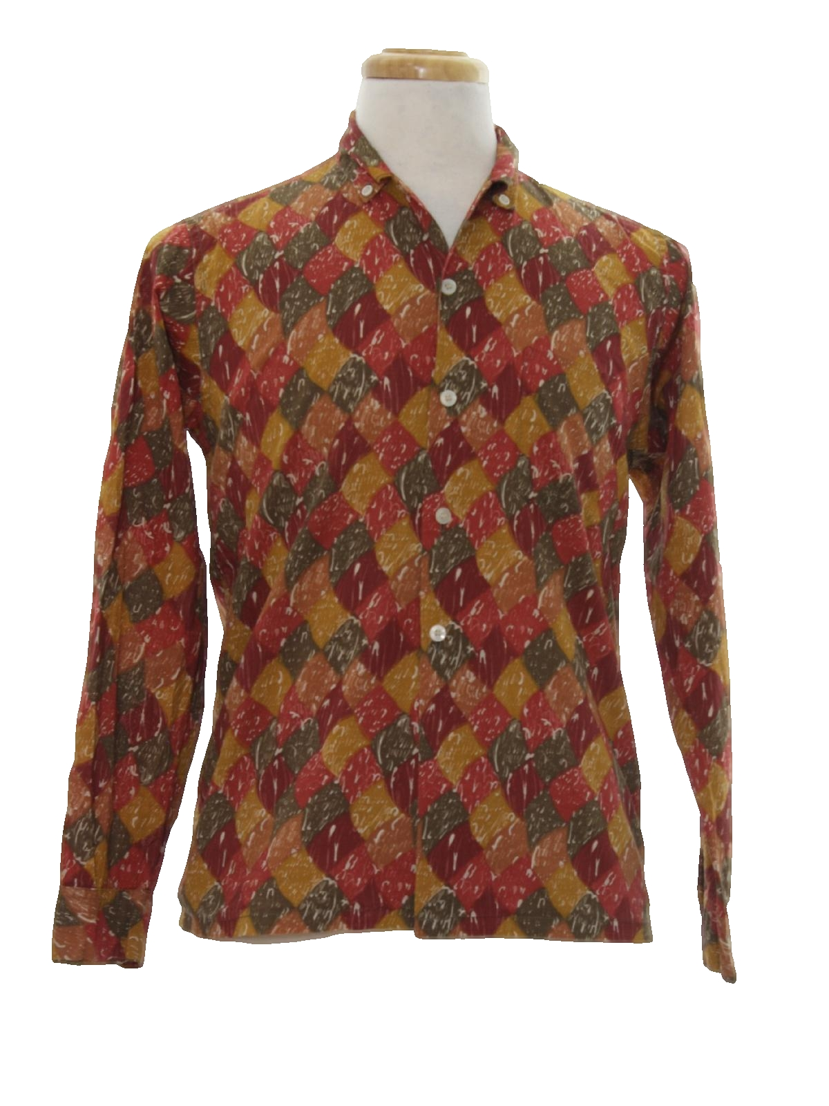 Sixties vintage shirt 60s boys town mens shades of dark for Mens dress shirts with cufflink holes