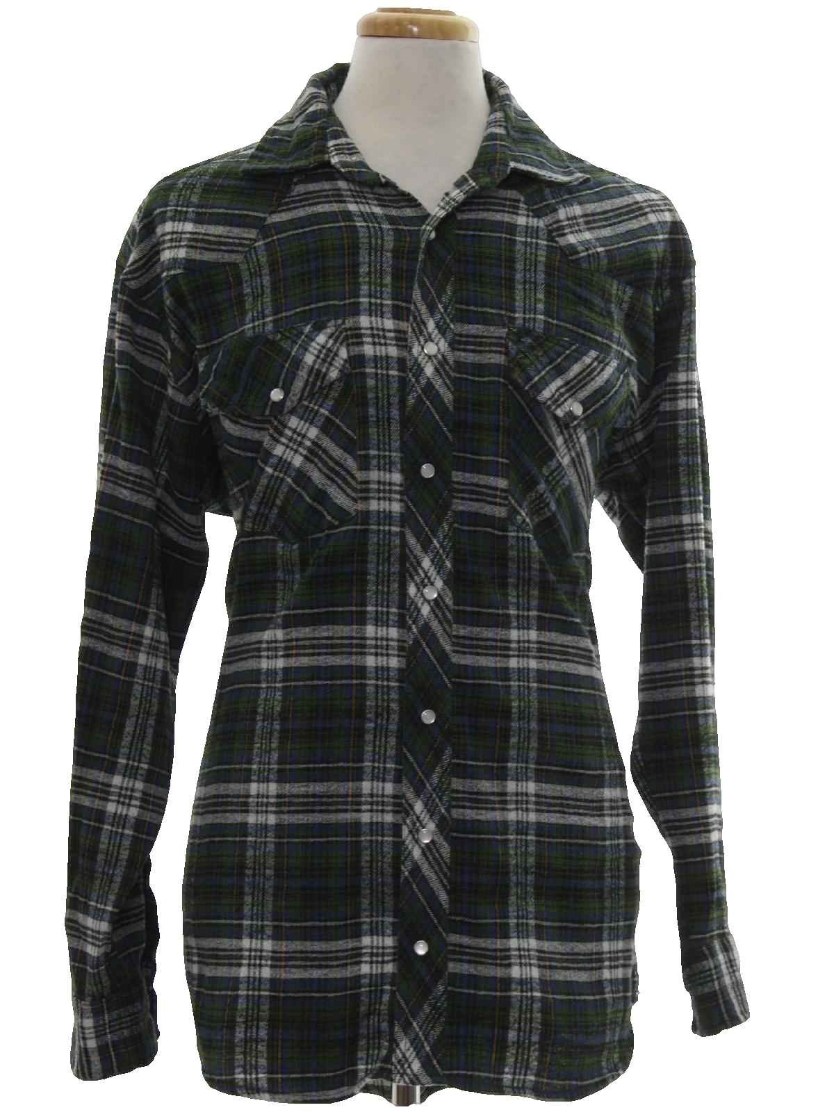 1990 39 s vintage sandy river western shirt 90s sandy river for Polyester lined flannel shirts