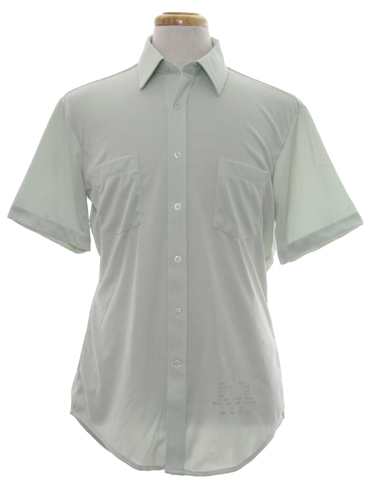 70 39 s vintage disco shirt 70s sears mens pale celedon for Solid color button up shirts