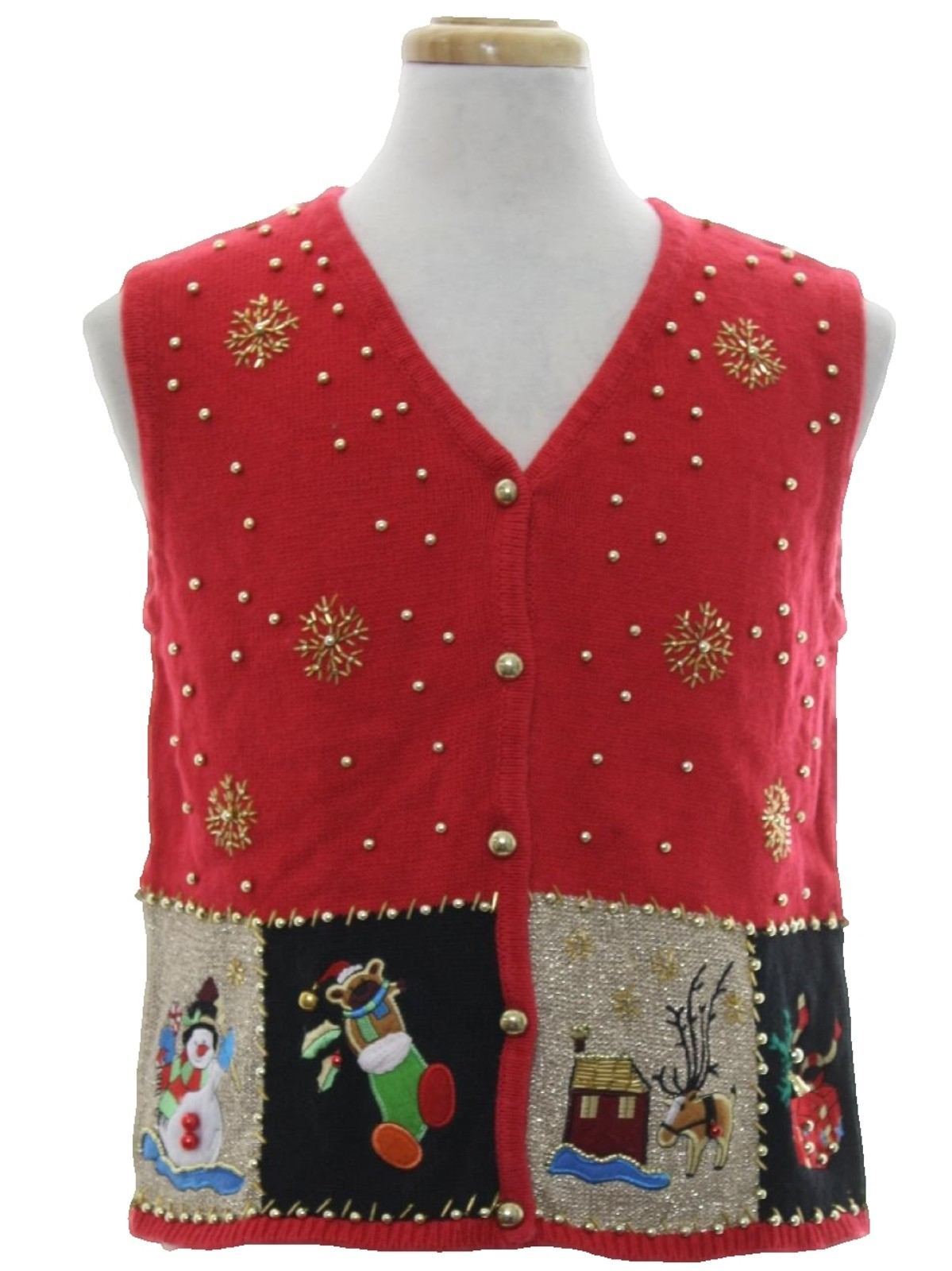 Womens Ugly Christmas Sweater Vest: -Lisa- Womens red, black and ...
