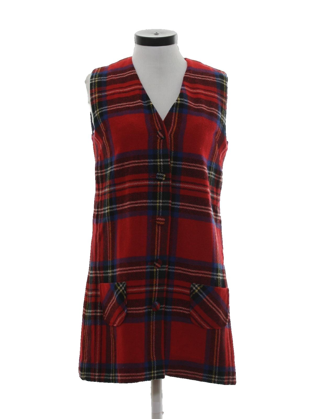 1960 s Retro Dress  60s -Nordstrom Best- Womens red plaid wool ... c0e23974e