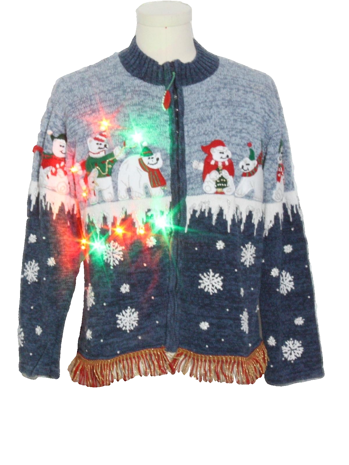 Blue And White Christmas Sweater.Tiara International Womens Hand Embellished Multicolor Lightup Ugly Christmas Sweater