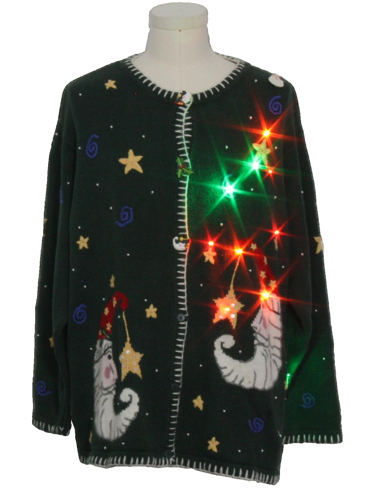 1990 S Vintage Multicolor Lightup Ugly Christmas Sweater