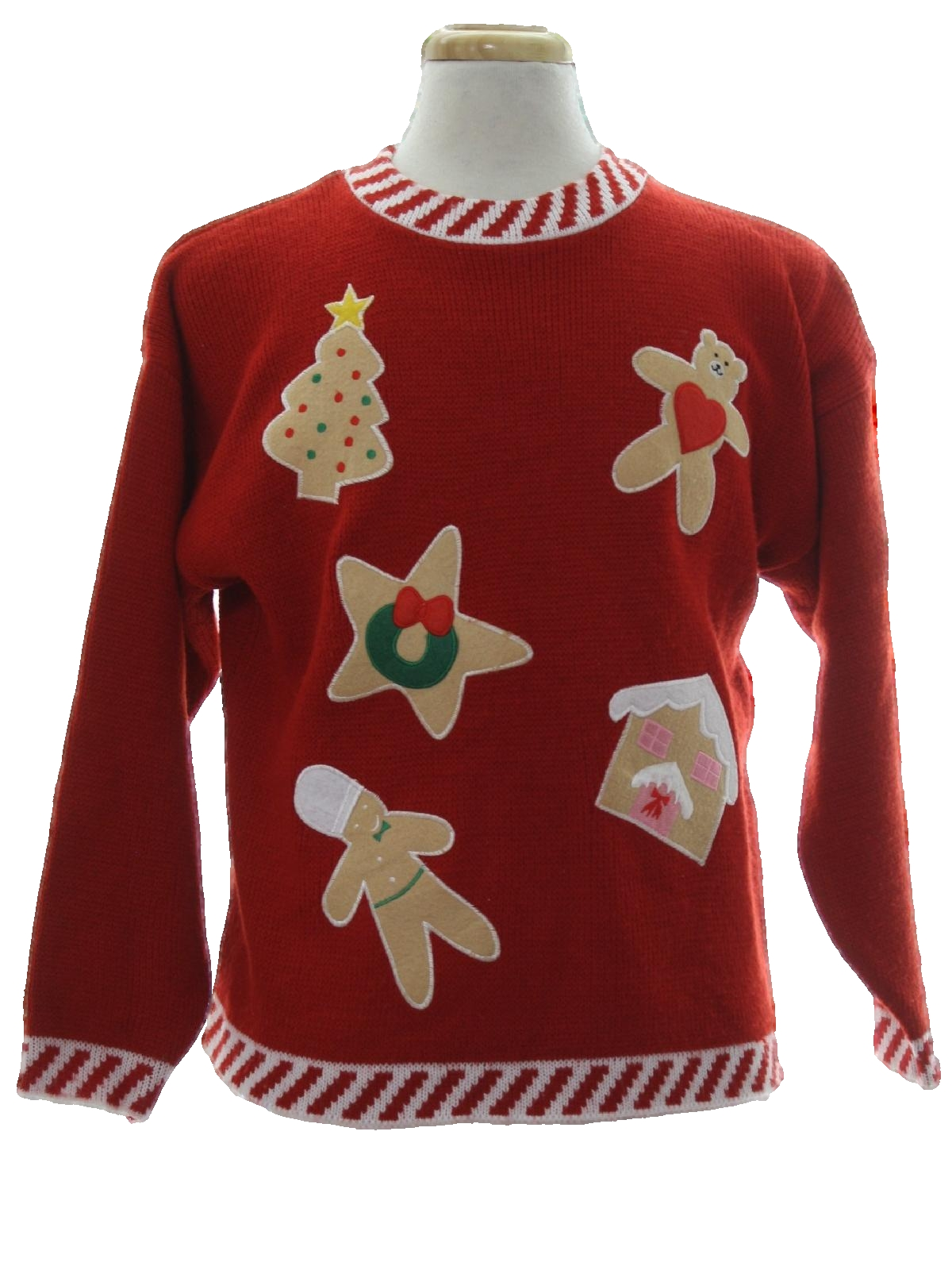 ugly christmas sweater retro look knit works unisex red tan pink green background cotton ramie blend pullover longsleeve ugly christmas sweater with