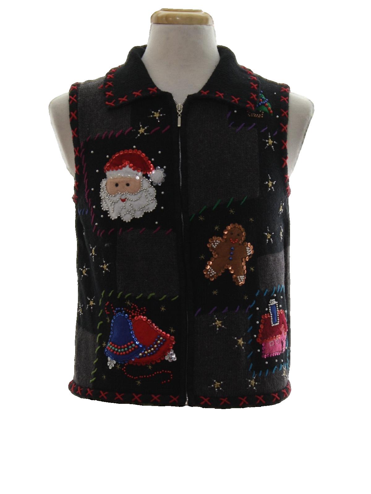 Womens Ugly Christmas Sweater Vest: -Rebecca Malone- Petite Womens