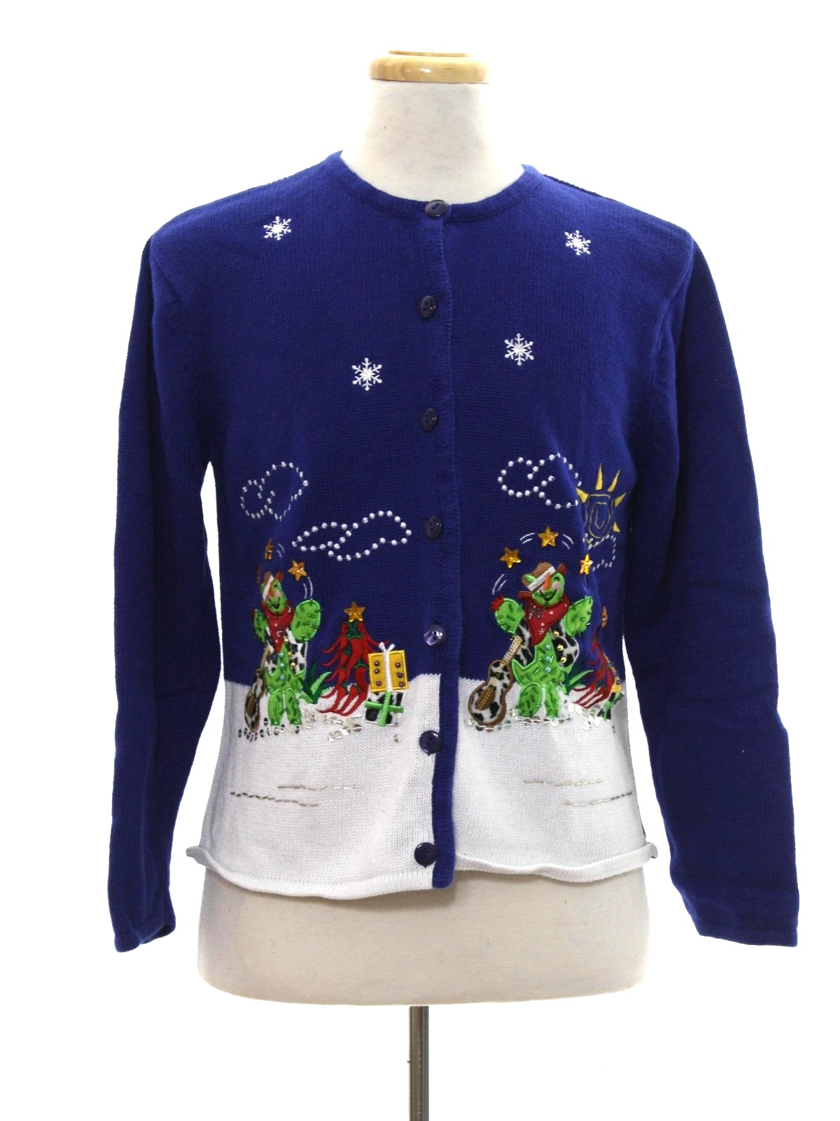 Womens Western Themed Ugly Christmas Sweater Crystal