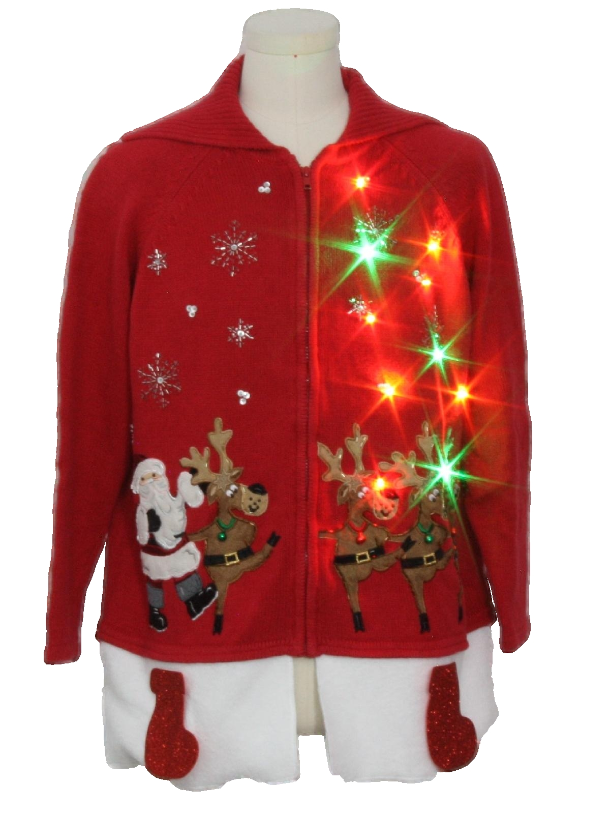 Hand Embellished Multicolor Lightup Ugly Christmas Sweater