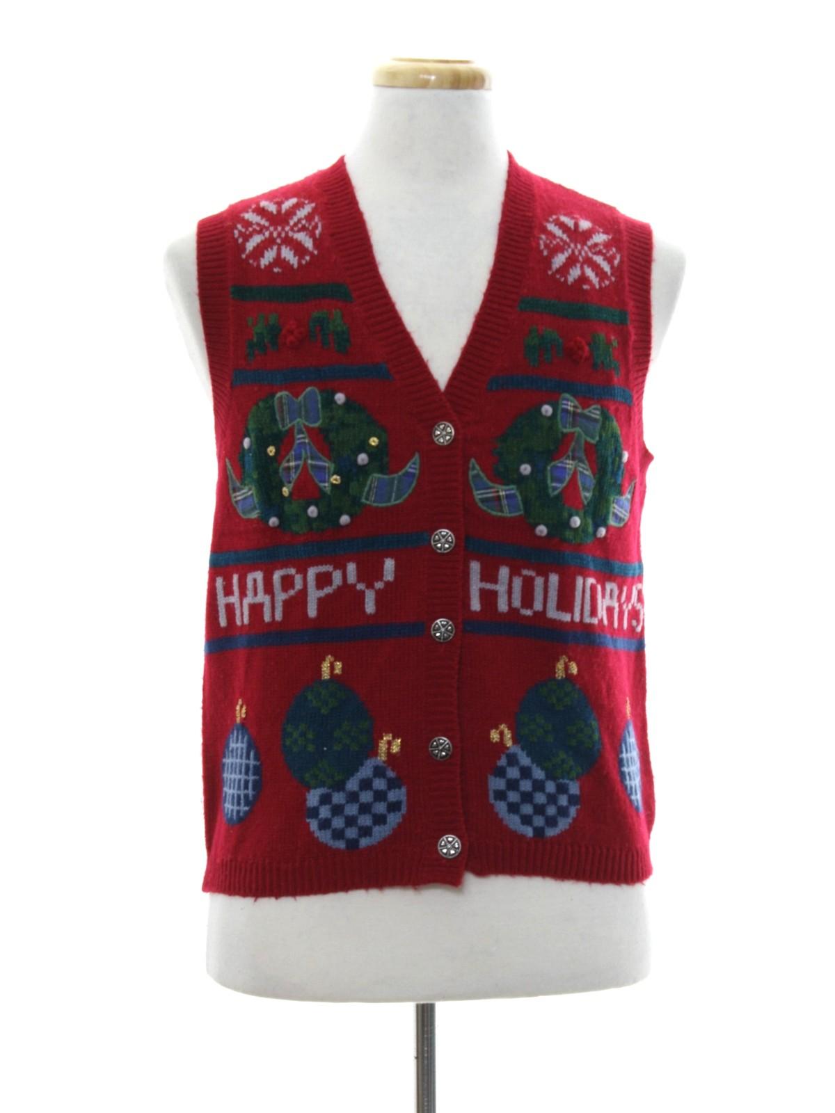 Womens Ugly Christmas Sweater Vest: -Karen Scott- Womens berry red