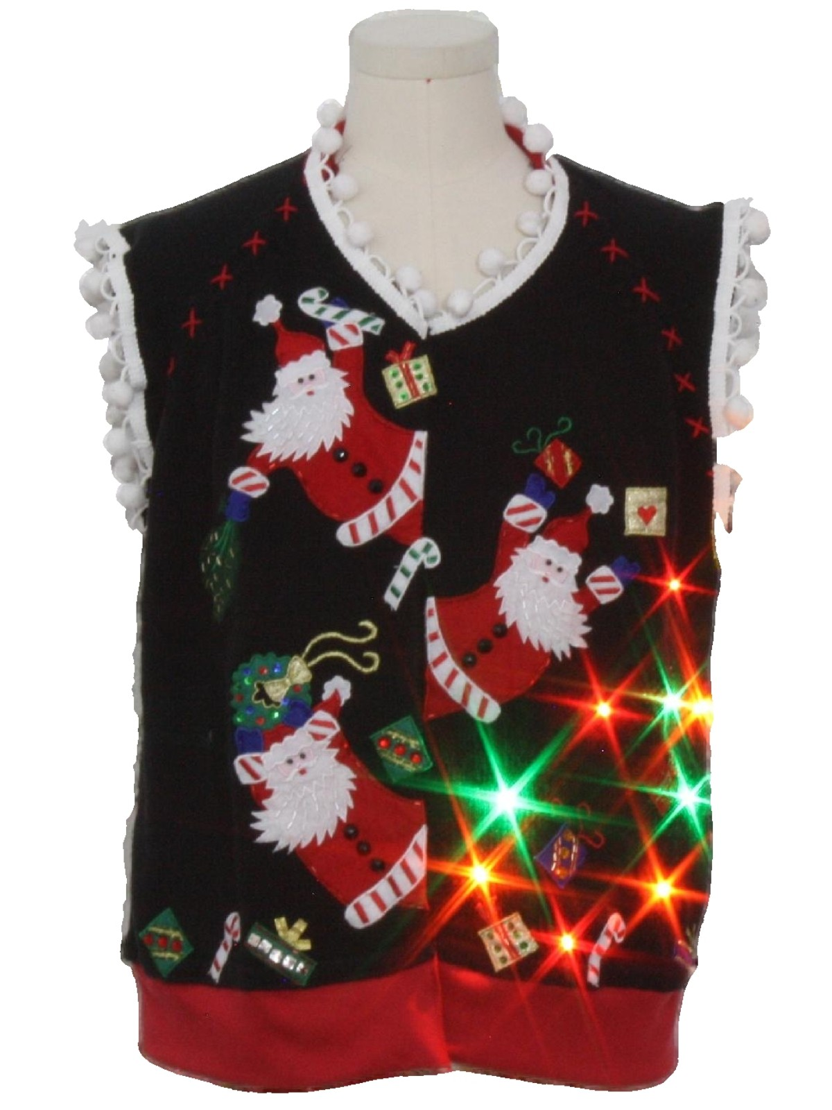 hand embellished multicolor lightup ugly christmas sweater vest tiara international unisex black background cotton ramie blend button front ugly