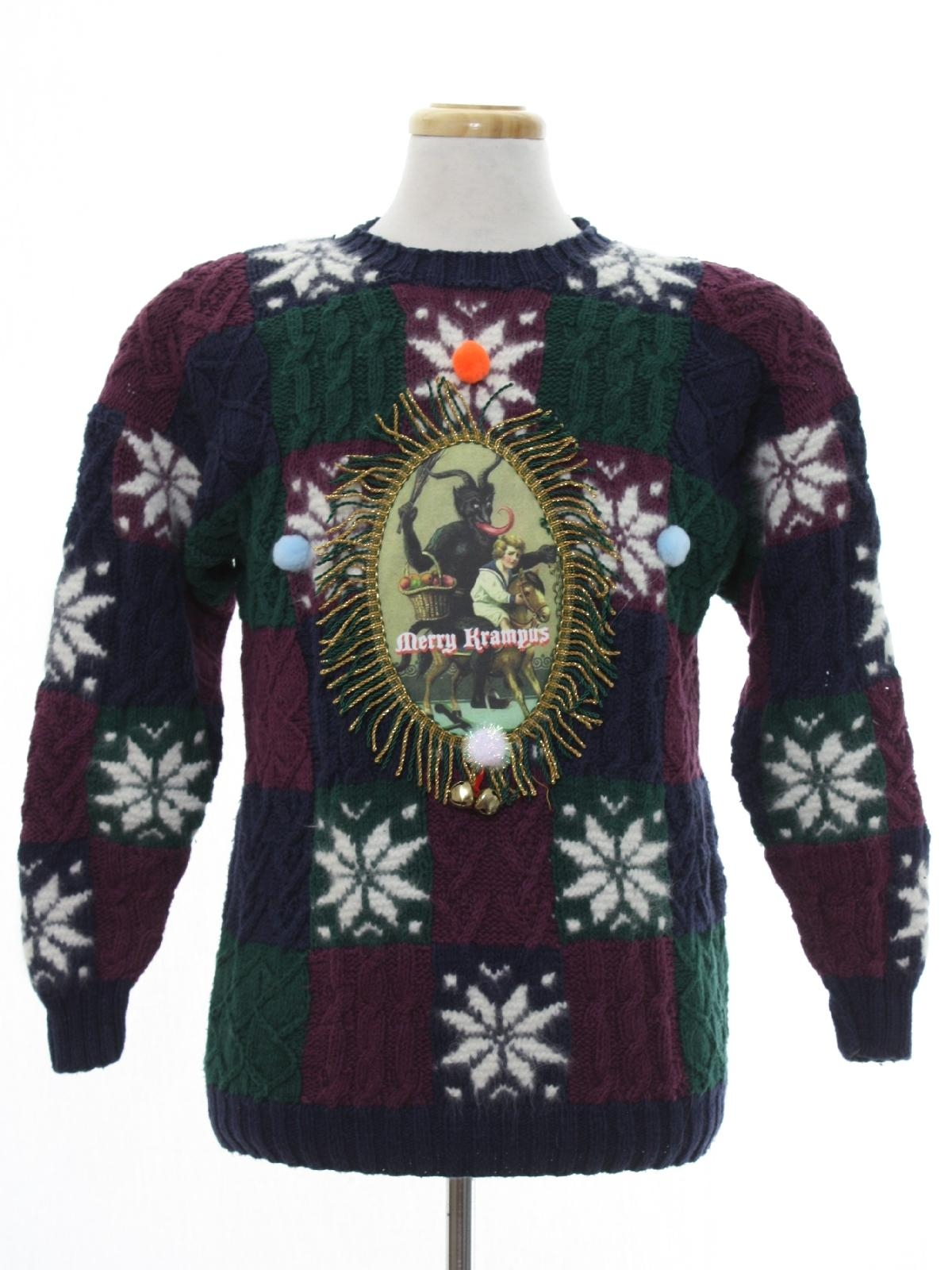 90s Christmas Sweaters.1990 S Paris Sport Club Womens Vintage Krampus Ugly Christmas Sweater