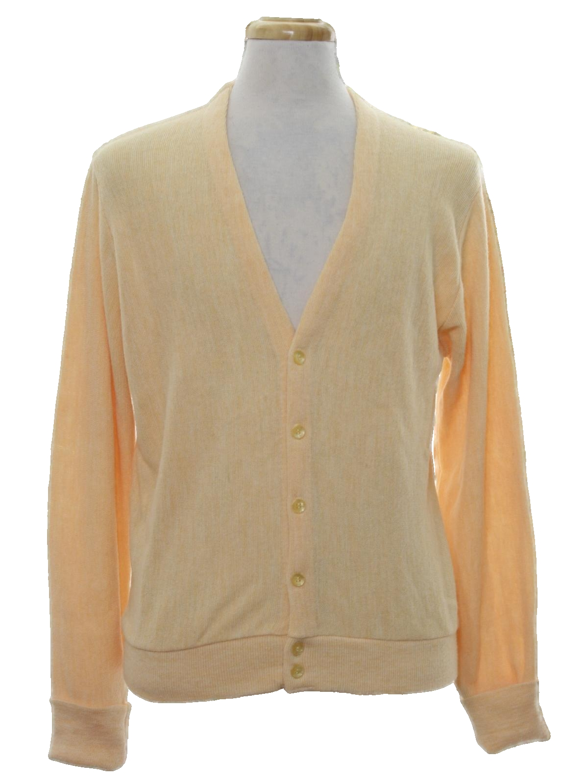 1960's Caridgan Sweater (Thane): 60s -Thane- Mens pale yellow ...