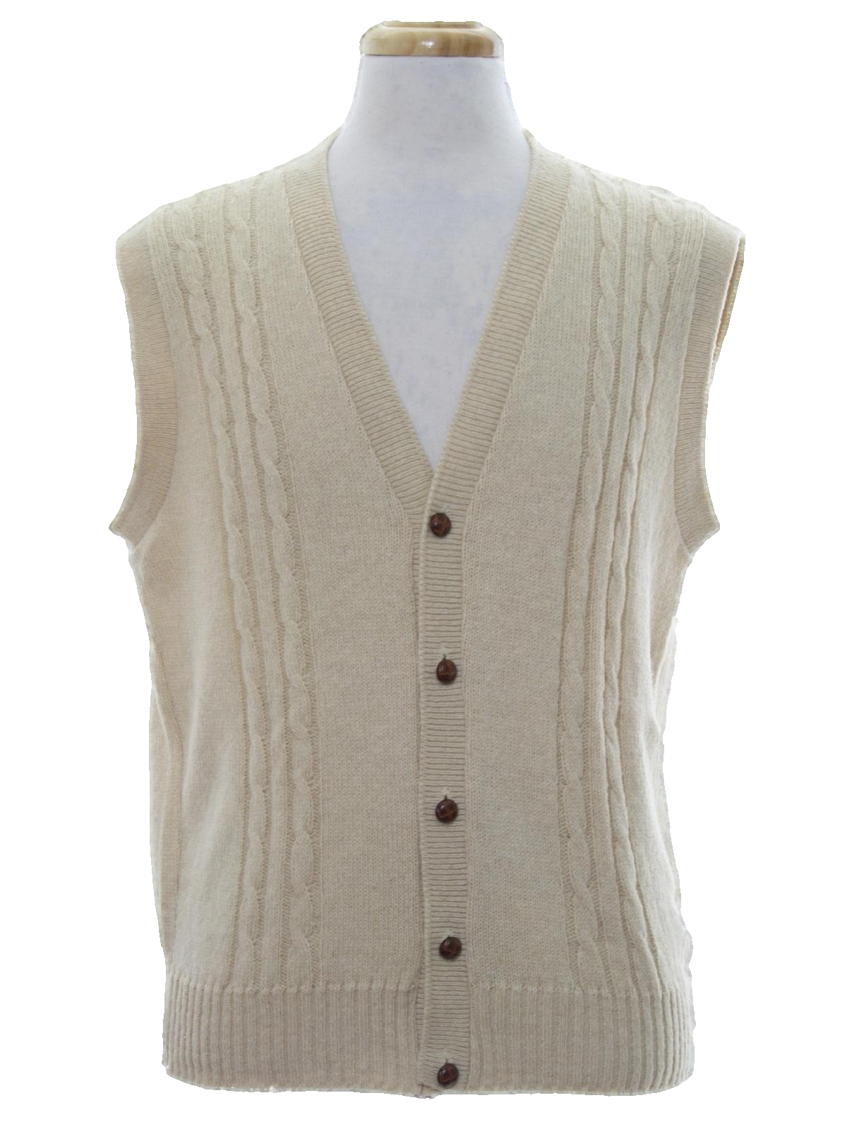 70s Sweater (Jantzen): 70s -Jantzen- Mens tan wool sweater vest ...
