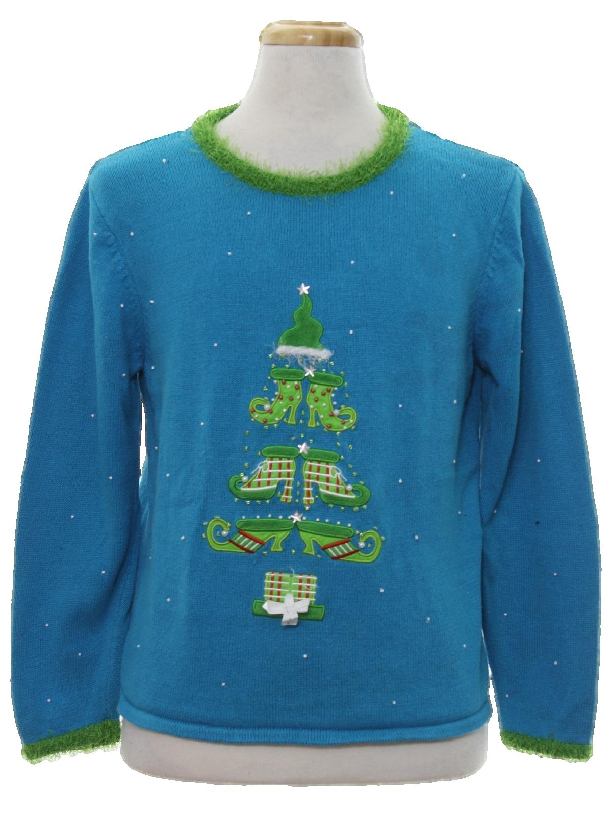 Ugly christmas sweater mandal bay unisex aqua blue for Over the top ugly christmas sweaters